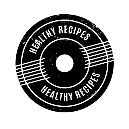 restored: Healthy Recipes rubber stamp. Grunge design with dust scratches. Effects can be easily removed for a clean, crisp look. Color is easily changed.