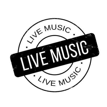 musik: Live Music rubber stamp. Grunge design with dust scratches. Effects can be easily removed for a clean, crisp look. Color is easily changed.