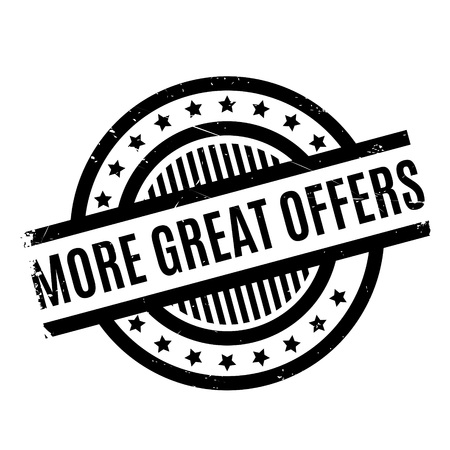 exceeding: More Great Offers rubber stamp. Grunge design with dust scratches. Effects can be easily removed for a clean, crisp look. Color is easily changed. Stock Photo