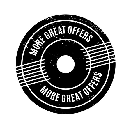More Great Offers rubber stamp. Grunge design with dust scratches. Effects can be easily removed for a clean, crisp look. Color is easily changed. Stock Photo