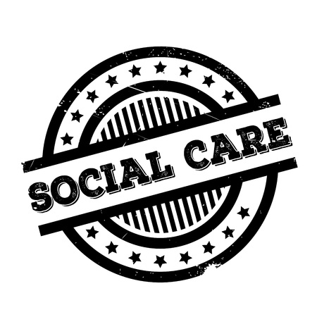 Social Care rubber stamp. Grunge design with dust scratches. Effects can be easily removed for a clean, crisp look. Color is easily changed. Illustration