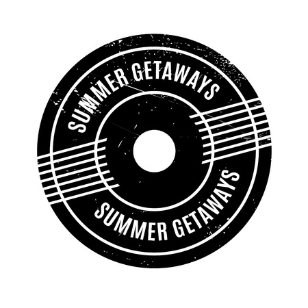 summer solstice: Summer Getaways rubber stamp. Grunge design with dust scratches. Effects can be easily removed for a clean, crisp look. Color is easily changed.