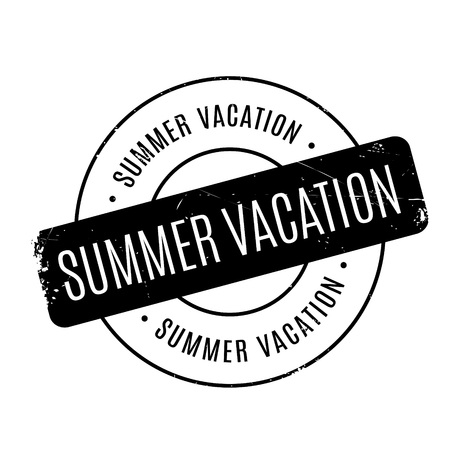 layoff: Summer Vacation rubber stamp. Grunge design with dust scratches. Effects can be easily removed for a clean, crisp look. Color is easily changed. Illustration