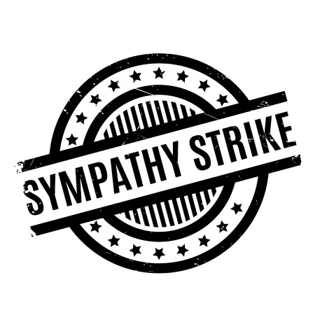 Sympathy Strike rubber stamp. Grunge design with dust scratches. Effects can be easily removed for a clean, crisp look. Color is easily changed. Illustration