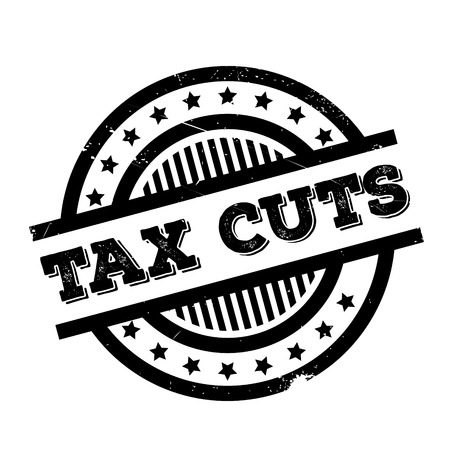 Tax Cuts rubber stamp. Grunge design with dust scratches. Effects can be easily removed for a clean, crisp look. Color is easily changed. Ilustrace