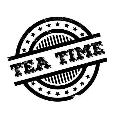Tea Time rubber stamp. Grunge design with dust scratches. Effects can be easily removed for a clean, crisp look. Color is easily changed. Illustration