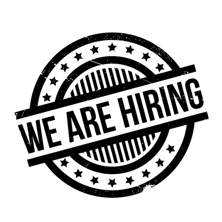 appoint: We Are Hiring rubber stamp. Grunge design with dust scratches. Effects can be easily removed for a clean, crisp look. Color is easily changed. Illustration
