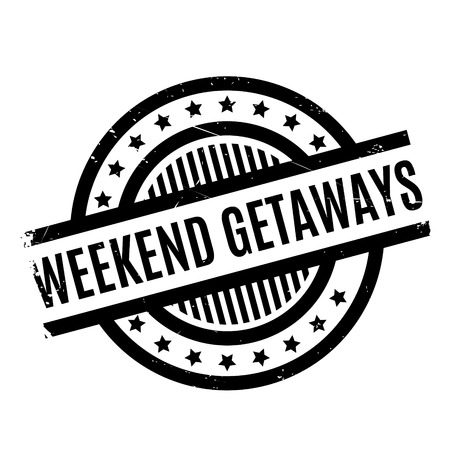 junket: Weekend Getaways rubber stamp. Grunge design with dust scratches. Effects can be easily removed for a clean, crisp look. Color is easily changed.