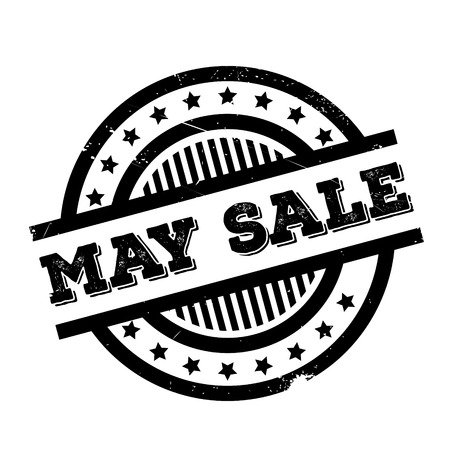 trade off: May Sale rubber stamp. Grunge design with dust scratches. Effects can be easily removed for a clean, crisp look. Color is easily changed.