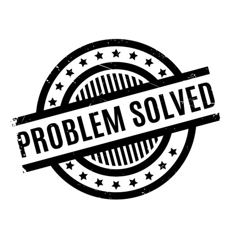 resolved: Problem Solved rubber stamp. Grunge design with dust scratches. Effects can be easily removed for a clean, crisp look. Color is easily changed.