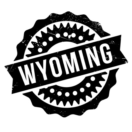 paleontology: Wyoming rubber stamp. Grunge design with dust scratches. Effects can be easily removed for a clean, crisp look. Color is easily changed.