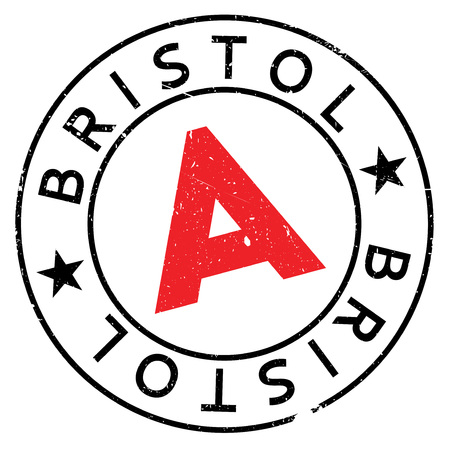 Bristol stamp. Grunge design with dust scratches. Effects can be easily removed for a clean, crisp look. Color is easily changed.