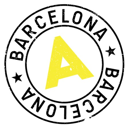 Barcelona stamp. Grunge design with dust scratches. Effects can be easily removed for a clean, crisp look. Color is easily changed.