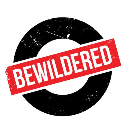 bewildered: Bewildered rubber stamp. Grunge design with dust scratches. Effects can be easily removed for a clean, crisp look. Color is easily changed. Illustration