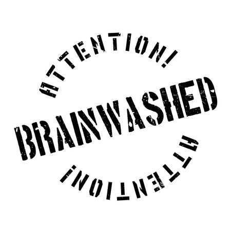 persuade: Brainwashed rubber stamp. Grunge design with dust scratches. Effects can be easily removed for a clean, crisp look. Color is easily changed.