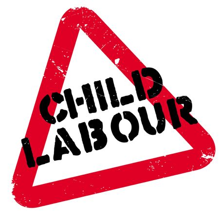 exploit: Child Labour rubber stamp. Grunge design with dust scratches. Effects can be easily removed for a clean, crisp look. Color is easily changed.