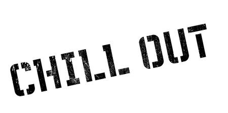 Chill Out sello de goma. Diseño de Grunge con los rasguños polvo. Los efectos se pueden quitar fácilmente para una apariencia limpia y nítida. En color se cambia fácilmente. Ilustración de vector