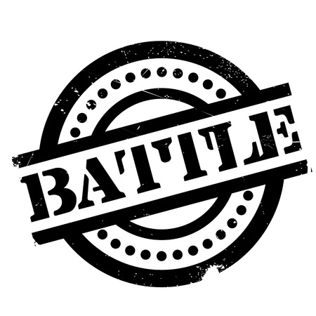 Battle rubber stamp. Grunge design with dust scratches. Effects can be easily removed for a clean, crisp look. Color is easily changed.