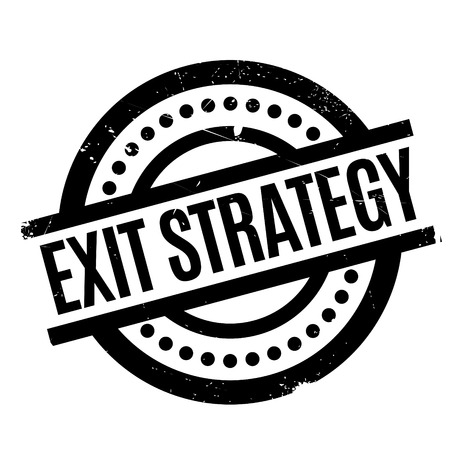 Exit Strategy rubber stamp. Grunge design with dust scratches. Effects can be easily removed for a clean, crisp look. Color is easily changed. Illustration