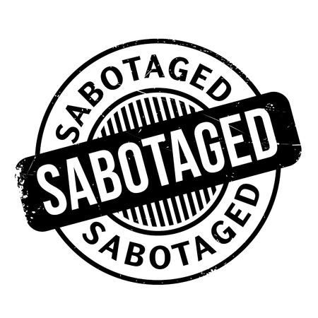 sabotage: Sabotaged rubber stamp. Grunge design with dust scratches. Effects can be easily removed for a clean, crisp look. Color is easily changed.