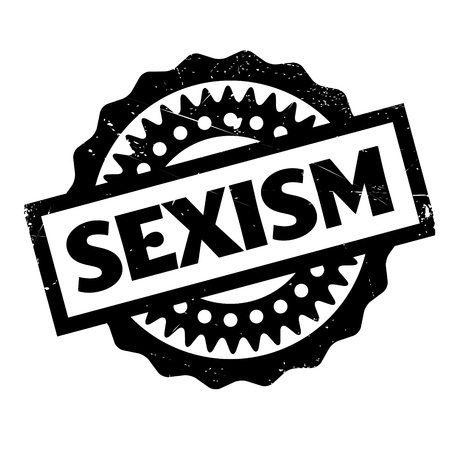 discriminate: Sexism rubber stamp. Grunge design with dust scratches. Effects can be easily removed for a clean, crisp look. Color is easily changed.
