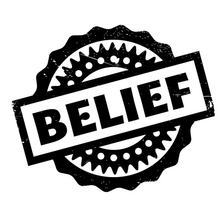 notion: Belief rubber stamp. Grunge design with dust scratches. Effects can be easily removed for a clean, crisp look. Color is easily changed.