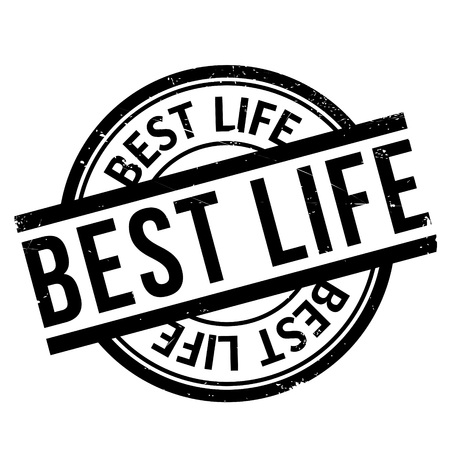desirable: Best Life rubber stamp. Grunge design with dust scratches. Effects can be easily removed for a clean, crisp look. Color is easily changed. Illustration