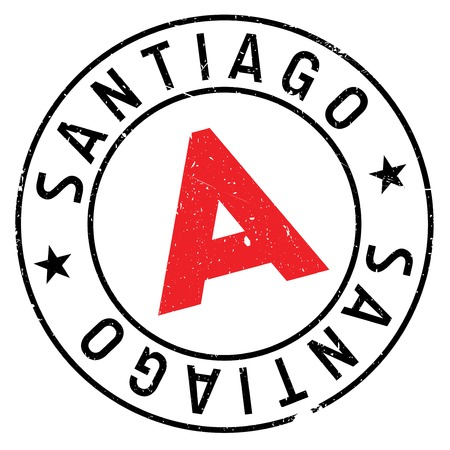 Santiago stamp. Grunge design with dust scratches. Effects can be easily removed for a clean, crisp look. Color is easily changed. Illustration