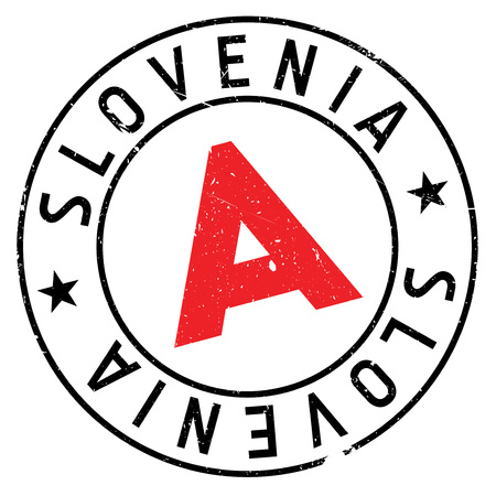 Slovenia stamp. Grunge design with dust scratches. Effects can be easily removed for a clean, crisp look. Color is easily changed.
