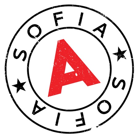 Sofia stamp. Grunge design with dust scratches. Effects can be easily removed for a clean, crisp look. Color is easily changed.