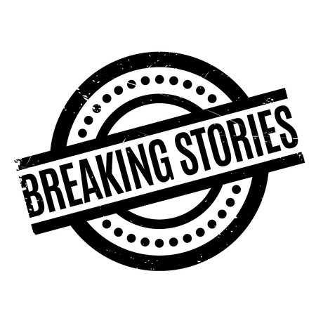 Breaking Stories rubber stamp. Grunge design with dust scratches. Effects can be easily removed for a clean, crisp look. Color is easily changed. Stock Photo
