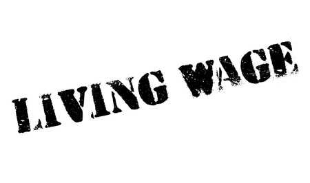 wage: Living Wage rubber stamp Illustration
