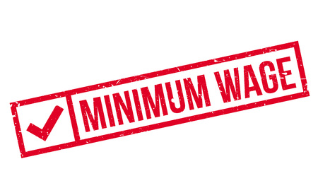 wage: Minimum Wage rubber stamp. Grunge design with dust scratches. Effects can be easily removed for a clean, crisp look. Color is easily changed.