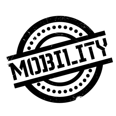 Mobility rubber stamp. Grunge design with dust scratches. Effects can be easily removed for a clean, crisp look. Color is easily changed.