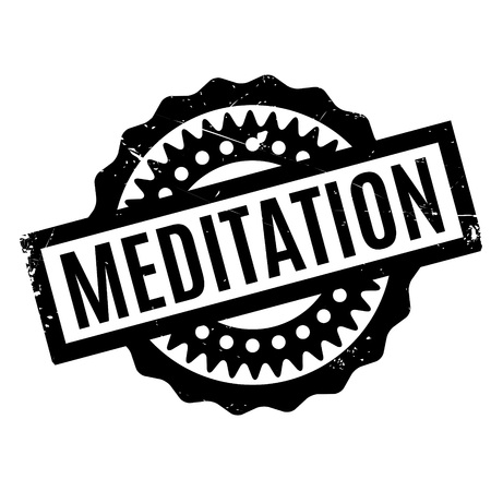 introspection: Meditation rubber stamp. Grunge design with dust scratches. Effects can be easily removed for a clean, crisp look. Color is easily changed. Illustration