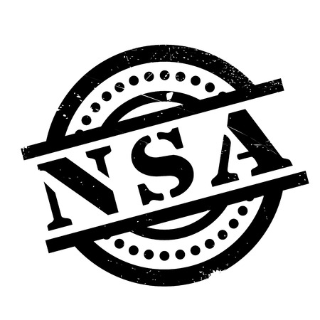 Nsa rubber stamp. Grunge design with dust scratches. Effects can be easily removed for a clean, crisp look. Color is easily changed. Illustration