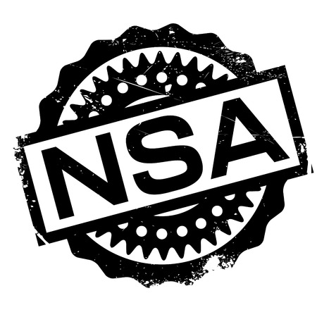 conspire: Nsa rubber stamp. Grunge design with dust scratches. Effects can be easily removed for a clean, crisp look. Color is easily changed. Stock Photo
