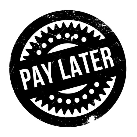 recompense: Pay Later rubber stamp. Grunge design with dust scratches. Effects can be easily removed for a clean, crisp look. Color is easily changed. Illustration