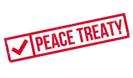 convention: Peace Treaty rubber stamp. Grunge design with dust scratches. Effects can be easily removed for a clean, crisp look. Color is easily changed. Illustration