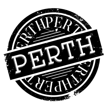 Perth rubber stamp. Grunge design with dust scratches. Effects can be easily removed for a clean, crisp look. Color is easily changed.