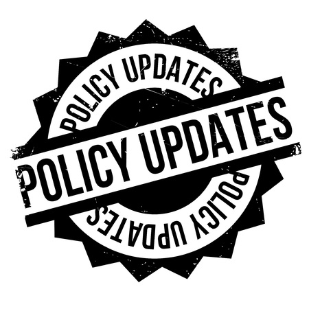 tenet: Policy Updates rubber stamp. Grunge design with dust scratches. Effects can be easily removed for a clean, crisp look. Color is easily changed.