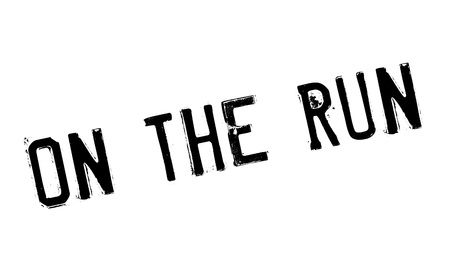 On The Run rubber stamp. Grunge design with dust scratches. Effects can be easily removed for a clean, crisp look. Color is easily changed. Vettoriali