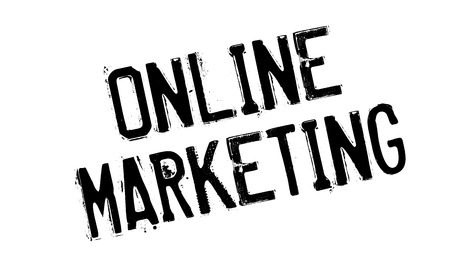 retailing: Online Marketing rubber stamp. Grunge design with dust scratches. Effects can be easily removed for a clean, crisp look. Color is easily changed.