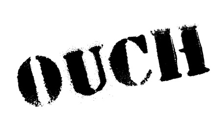 aching: Ouch rubber stamp. Grunge design with dust scratches. Effects can be easily removed for a clean, crisp look. Color is easily changed.