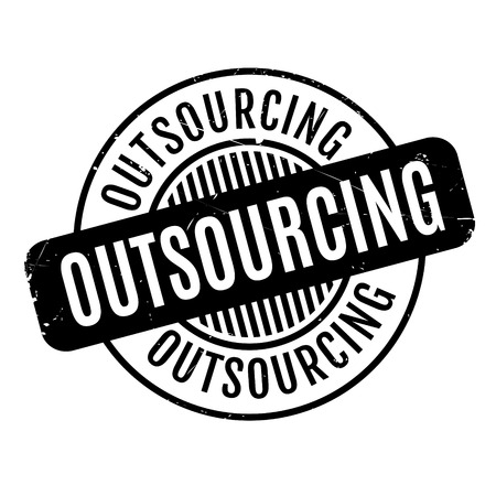 offshoring: Outsourcing rubber stamp. Grunge design with dust scratches. Effects can be easily removed for a clean, crisp look. Color is easily changed.