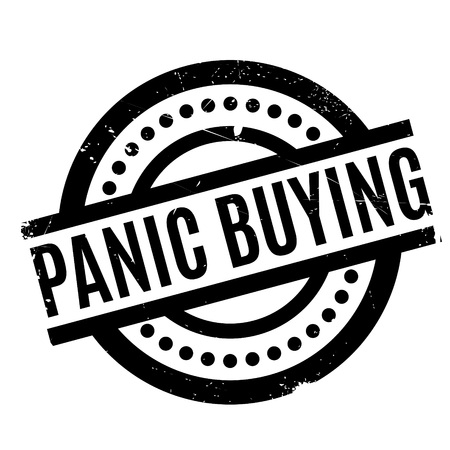stockpile: Panic Buying rubber stamp. Grunge design with dust scratches. Effects can be easily removed for a clean, crisp look. Color is easily changed. Illustration