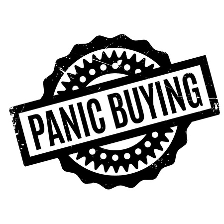 Panic Buying rubber stamp. Grunge design with dust scratches. Effects can be easily removed for a clean, crisp look. Color is easily changed. Illustration
