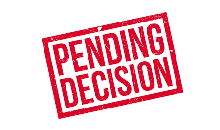 Pending Decision rubber stamp. Grunge design with dust scratches. Effects can be easily removed for a clean, crisp look. Color is easily changed. Illustration