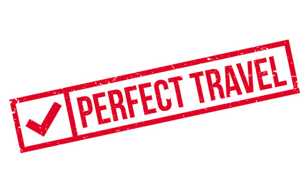 Perfect Travel rubber stamp. Grunge design with dust scratches. Effects can be easily removed for a clean, crisp look. Color is easily changed. Imagens - 72507067