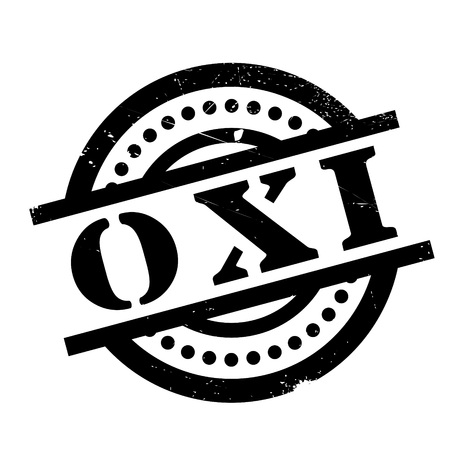 Oxi (NO In Greek) rubber stamp. Grunge design with dust scratches. Effects can be easily removed for a clean, crisp look. Color is easily changed.